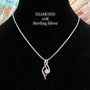 10K GOLD AND DIAMOND STERLING PENDANT NECKLACE 925